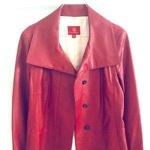 Cole Haan Red Button Front Leather Jacket
